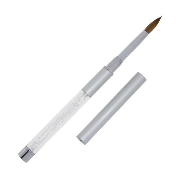 JUSTNAILS Premium Kolinsky Acryl Pinsel silber- Gr.8 02